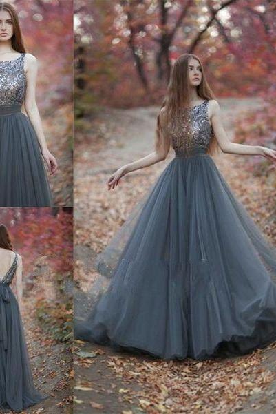 Sexy Prom Dresses New Arrival Tulle Prom Dress,Beading Prom Gown Dress,Backless Gray Formal Party Gowns