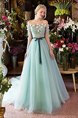 Formal Evening Dress Ball Gown Off-the-shoulder Court Train Lace,Tulle withAppliques,Beading prom gown ,Crystal Detailing party dress,Flower applique prom dress