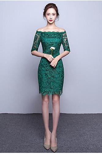 2017 Cocktail Party prom Dress A-line Bateau Knee-length Lace with Lace