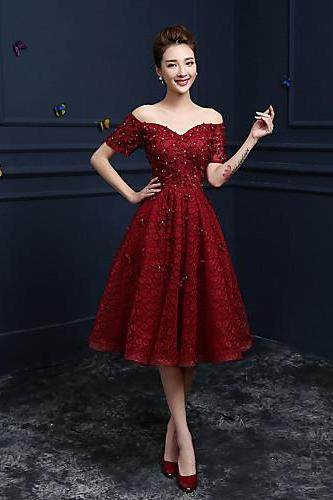 2017 Cocktail Party Prom Dress A-line Off-the-shoulder Tea-length Lace with Appliques
