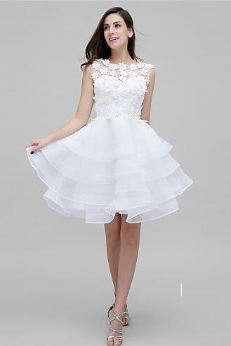 2017 Cocktail Party Dress A-line Jewel Knee-length Tulle with Flower prom dress