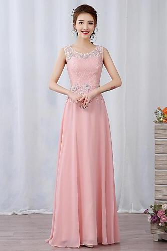 2017 Prom dress Formal Evening Dress A-line Jewel Floor-length Chiffon Lace with Appliques prom dress, Beading prom dress