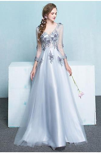 2017 Formal Evening Dress A-line V-neck Floor-length Tulle with Beading