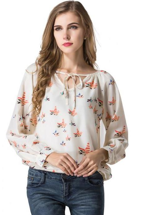 Print Chiffon Plunge V Long Cuff-Sleeved Blouse Featuring Ribbon Accent