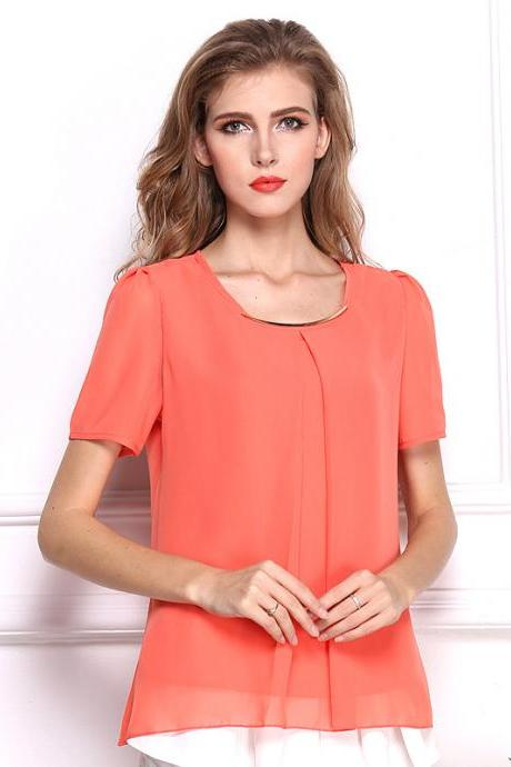 2017 Tropical Sexy Fold Chiffon Women Blouses Casual Tops Women T- Shirt